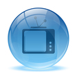 3D glass sphere and tv icon vector image vector image