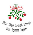 a sprig of mistletoe with a red bow vector image