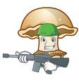 army portobello mushroom character cartoon vector image vector image