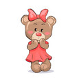 bear female looking confused with paws near mouth vector image vector image
