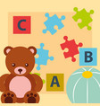 bear teddy ball blocks alphabet and puzzles toys vector image vector image