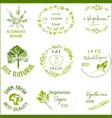 bio ecology organic logos and icons labels vector image vector image