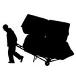 black silhouette hard worker pushing wheelbarrow vector image vector image