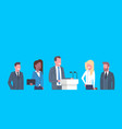 business conference public debate interview vector image vector image