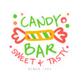candy bar sweet and tasty logo colorful hand vector image vector image