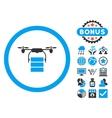 Cargo Drone Flat Icon with Bonus vector image vector image