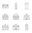 castles and towers icon set outline style vector image vector image