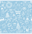 christmas seamless background with doodle symbols vector image