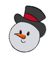 christmas snowman with hat character decoration vector image