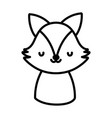 cute fox toy cartoon character icon line style vector image vector image