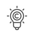 digital law copyright flat line icon vector image vector image