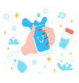 drink more water various bottles glass flusk vector image vector image