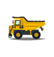 dumper big car yellow truck isolated on white vector image vector image