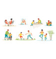 family scenes kids and parents playing reading vector image vector image