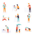 fathers taking care of their children set daddies vector image vector image