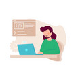 female programmist woman writing code content vector image