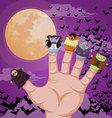 Five finger monsters halloween vector image