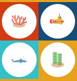 flat icon marine set of periscope shark seaweed vector image vector image