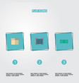flat icons qr case cash and other vector image vector image