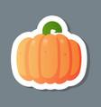 fresh orange pumpkin sticker tasty vegetable icon vector image