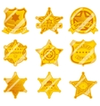 Golden sheriff star badges vector image vector image