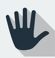 gray stop hand icon isolated on background modern vector image