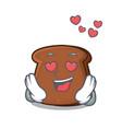 in love brown bread mascot cartoon vector image vector image