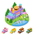 isometric street food burger truck with people vector image vector image