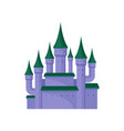 large purple castle royal palace with high towers vector image vector image