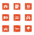 machine protection icons set grunge style vector image