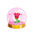 magic crystal ball with small pink hearts and red vector image vector image