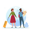 male and female tourists are exploring new places vector image vector image