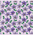 purple flower and green twig on light lilac vector image