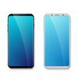 realistic bezel-less smartphone mockup white vector image