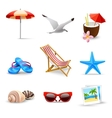 Realistic Summer Vacation Icons vector image vector image