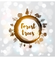 Saw cut tree trunk and forest trees vector image vector image