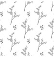 Seamless of thin twigs with leaves vector image