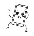 smartphone device kawaii character vector image