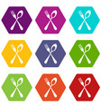 spoon and fork icon set color hexahedron vector image