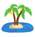 two banana palm trees on island in ocean vector image