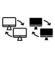 two computer with arrows line and glyph icon vector image vector image