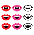 Vampire mouth vampire teeth icons set vector image vector image