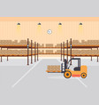 warehouse interior load boxes and pallet on vector image vector image