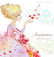 watercolor greeting card with beautiful girl for vector image