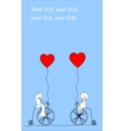 Wedding Couple on Bicycles Drawing vector image vector image