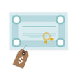 price tag on education certificate school graduate vector image