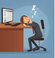 sleeping happy smiling office worker man vector image