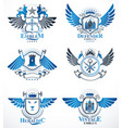 set of luxury heraldic templates collection of vector image