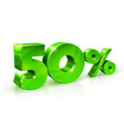 glossy green 50 fifty percent off sale isolated vector image
