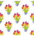 seamless pattern with beautiful bouquet of tulips vector image